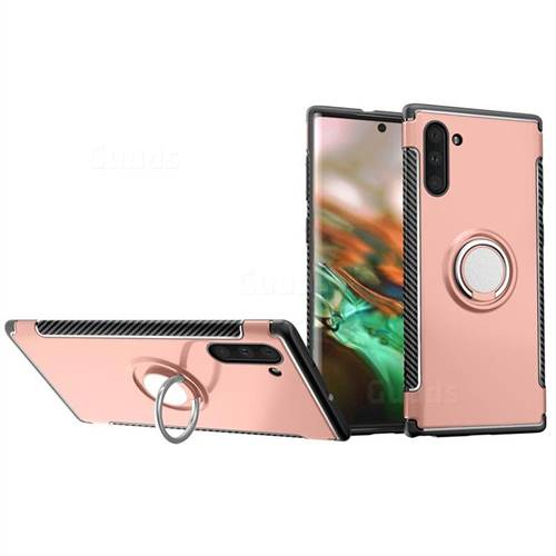 Armor Anti Drop Carbon PC + Silicon Invisible Ring Holder Phone Case for Samsung Galaxy Note 10 (6.28 inch) / Note10 5G - Rose Gold