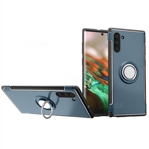 Armor Anti Drop Carbon PC + Silicon Invisible Ring Holder Phone Case for Samsung Galaxy Note 10 (6.28 inch) / Note10 5G - Navy