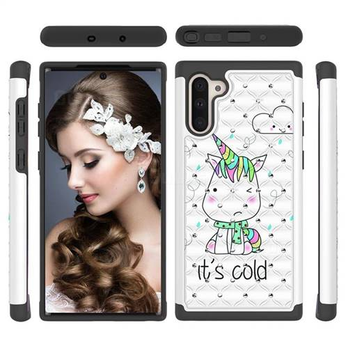 Tiny Unicorn Studded Rhinestone Bling Diamond Shock Absorbing Hybrid Defender Rugged Phone Case Cover for Samsung Galaxy Note 10 (6.28 inch) / Note10 5G