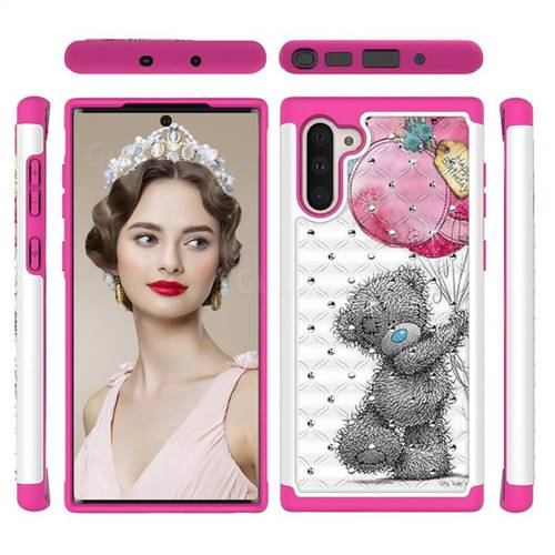 Gray Bear Studded Rhinestone Bling Diamond Shock Absorbing Hybrid Defender Rugged Phone Case Cover for Samsung Galaxy Note 10 (6.28 inch) / Note10 5G