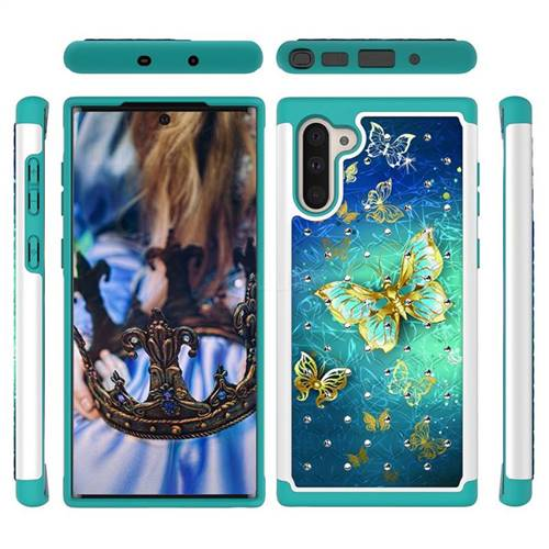 Gold Butterfly Studded Rhinestone Bling Diamond Shock Absorbing Hybrid Defender Rugged Phone Case Cover for Samsung Galaxy Note 10 (6.28 inch) / Note10 5G
