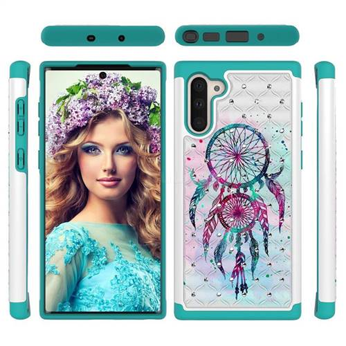 Color Drops Wind Chimes Studded Rhinestone Bling Diamond Shock Absorbing Hybrid Defender Rugged Phone Case Cover for Samsung Galaxy Note 10 (6.28 inch) / Note10 5G