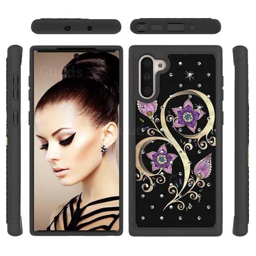 Peacock Flower Studded Rhinestone Bling Diamond Shock Absorbing Hybrid Defender Rugged Phone Case Cover for Samsung Galaxy Note 10 (6.28 inch) / Note10 5G