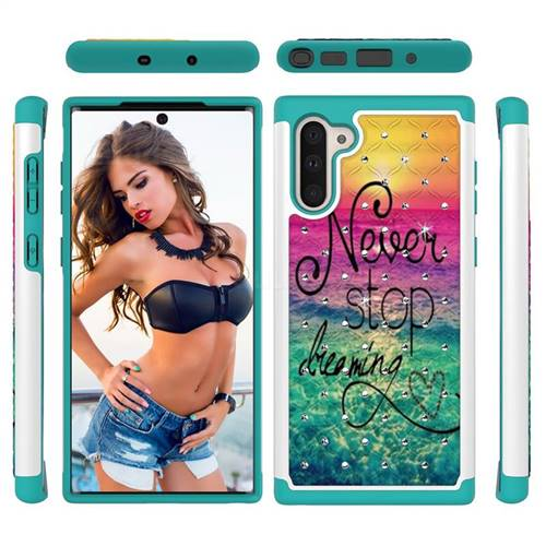 Colorful Dream Catcher Studded Rhinestone Bling Diamond Shock Absorbing Hybrid Defender Rugged Phone Case Cover for Samsung Galaxy Note 10 (6.28 inch) / Note10 5G