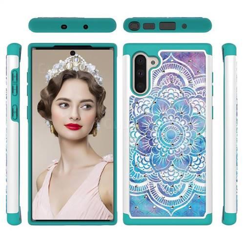 Mandala Studded Rhinestone Bling Diamond Shock Absorbing Hybrid Defender Rugged Phone Case Cover for Samsung Galaxy Note 10 (6.28 inch) / Note10 5G