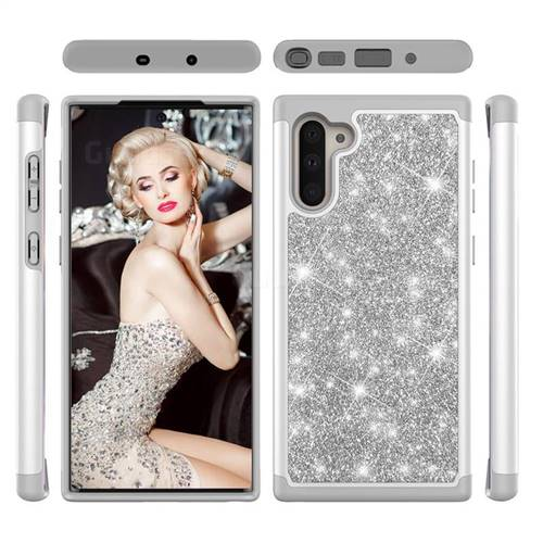 Glitter Rhinestone Bling Shock Absorbing Hybrid Defender Rugged Phone Case Cover for Samsung Galaxy Note 10 (6.28 inch) / Note10 5G - Gray