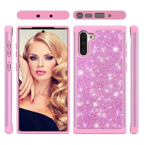 Glitter Rhinestone Bling Shock Absorbing Hybrid Defender Rugged Phone Case Cover for Samsung Galaxy Note 10 (6.28 inch) / Note10 5G - Pink