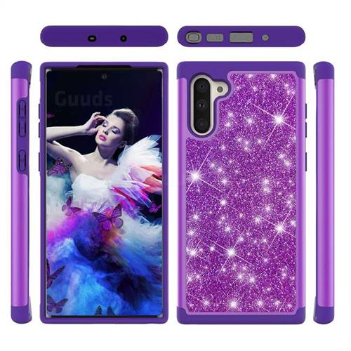 Glitter Rhinestone Bling Shock Absorbing Hybrid Defender Rugged Phone Case Cover for Samsung Galaxy Note 10 (6.28 inch) / Note10 5G - Purple