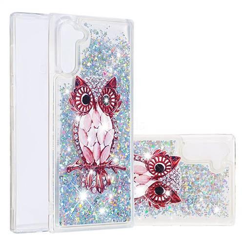 Seashell Owl Dynamic Liquid Glitter Quicksand Soft TPU Case for Samsung Galaxy Note 10 (6.28 inch) / Note10 5G