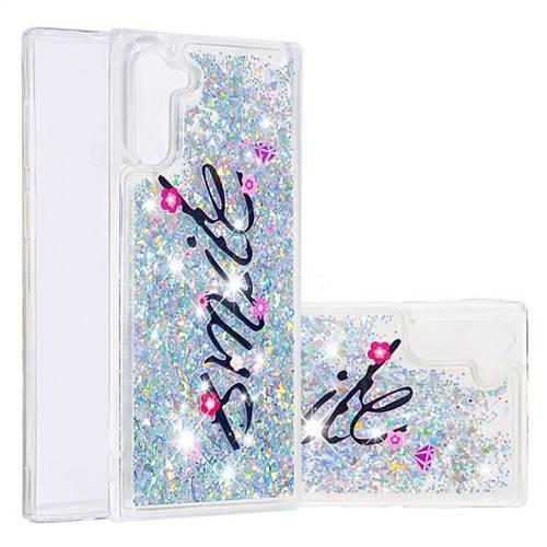 Smile Flower Dynamic Liquid Glitter Quicksand Soft TPU Case for Samsung Galaxy Note 10 (6.28 inch) / Note10 5G