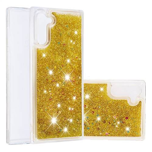 Dynamic Liquid Glitter Quicksand Sequins TPU Phone Case for Samsung Galaxy Note 10 (6.28 inch) / Note10 5G - Golden