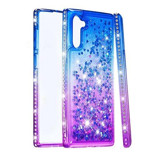 Diamond Frame Liquid Glitter Quicksand Sequins Phone Case for Samsung Galaxy Note 10 (6.28 inch) / Note10 5G - Blue Purple
