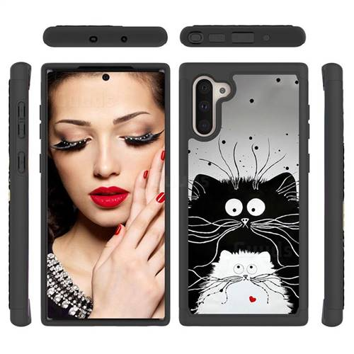 Black and White Cat Shock Absorbing Hybrid Defender Rugged Phone Case Cover for Samsung Galaxy Note 10 (6.28 inch) / Note10 5G