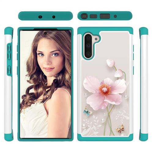 Pearl Flower Shock Absorbing Hybrid Defender Rugged Phone Case Cover for Samsung Galaxy Note 10 (6.28 inch) / Note10 5G