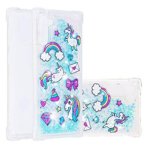 Fashion Unicorn Dynamic Liquid Glitter Sand Quicksand Star TPU Case for Samsung Galaxy Note 10 (6.28 inch) / Note10 5G