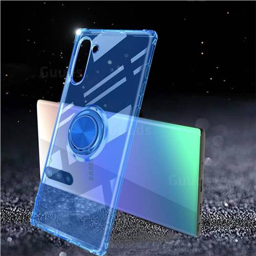 Anti-fall Invisible Press Bounce Ring Holder Phone Cover for Samsung Galaxy Note 10 (6.28 inch) / Note10 5G - Sapphire Blue