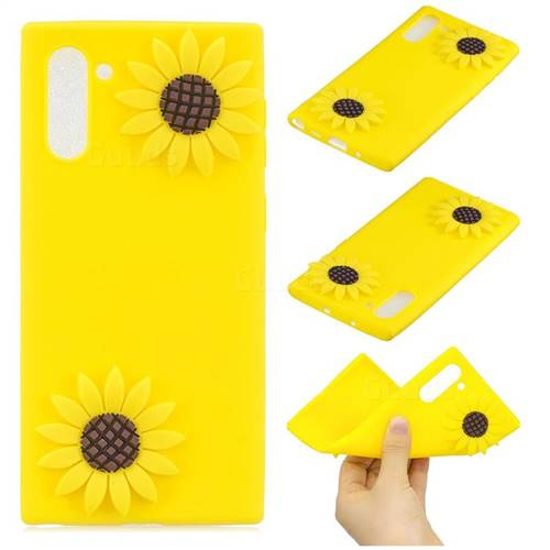 Yellow Sunflower Soft 3D Silicone Case for Samsung Galaxy Note 10 (6.28 inch)