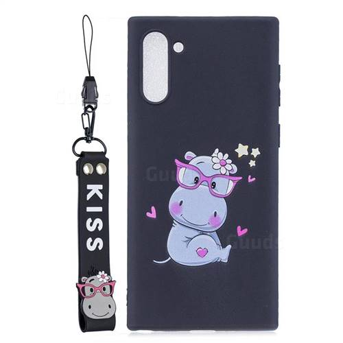 Black Flower Hippo Soft Kiss Candy Hand Strap Silicone Case for Samsung Galaxy Note 10 (6.28 inch)