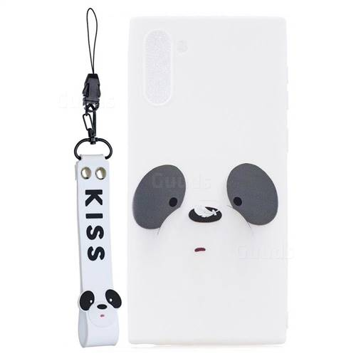 White Feather Panda Soft Kiss Candy Hand Strap Silicone Case for Samsung Galaxy Note 10 (6.28 inch)