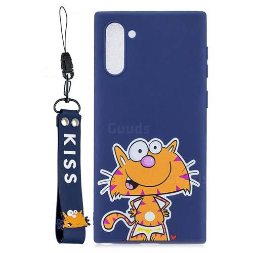 Blue Cute Cat Soft Kiss Candy Hand Strap Silicone Case for Samsung Galaxy Note 10 (6.28 inch) / Note10 5G