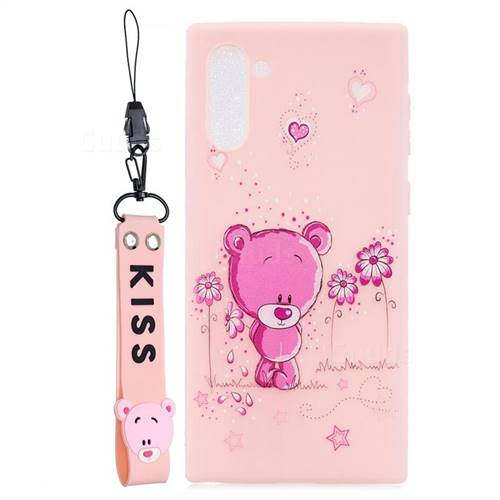 Pink Flower Bear Soft Kiss Candy Hand Strap Silicone Case for Samsung Galaxy Note 10 (6.28 inch) / Note10 5G