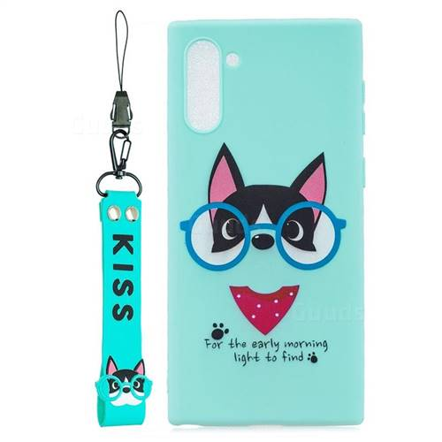 Green Glasses Dog Soft Kiss Candy Hand Strap Silicone Case for Samsung Galaxy Note 10 (6.28 inch) / Note10 5G