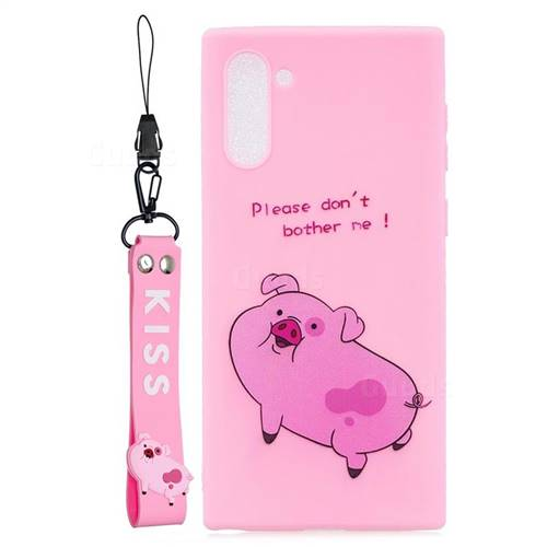 Pink Cute Pig Soft Kiss Candy Hand Strap Silicone Case for Samsung Galaxy Note 10 (6.28 inch)
