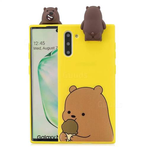 Brown Bear Soft 3D Climbing Doll Stand Soft Case for Samsung Galaxy Note 10 (6.28 inch) / Note10 5G