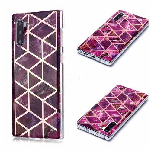 Purple Rhombus Galvanized Rose Gold Marble Phone Back Cover for Samsung Galaxy Note 10 (6.28 inch) / Note10 5G
