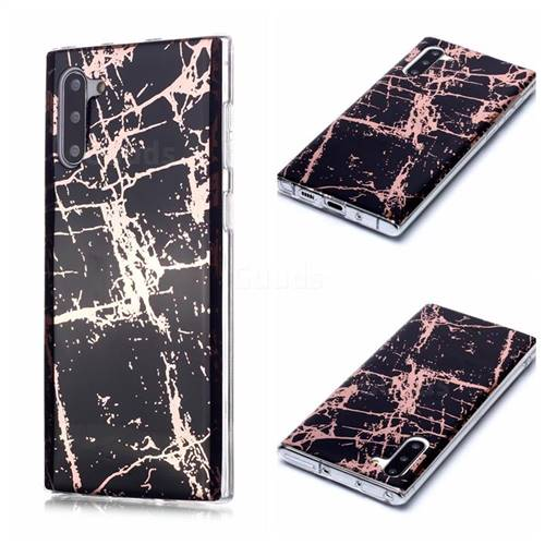 Black Galvanized Rose Gold Marble Phone Back Cover for Samsung Galaxy Note 10 (6.28 inch) / Note10 5G
