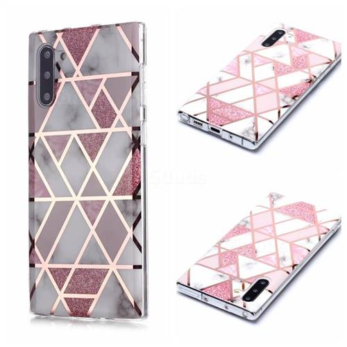 Pink Rhombus Galvanized Rose Gold Marble Phone Back Cover for Samsung Galaxy Note 10 (6.28 inch) / Note10 5G