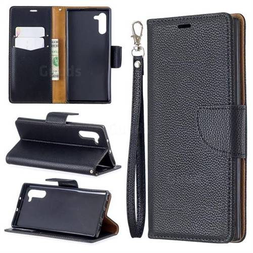 Classic Luxury Litchi Leather Phone Wallet Case for Samsung Galaxy Note 10 (6.28 inch) / Note10 5G - Black