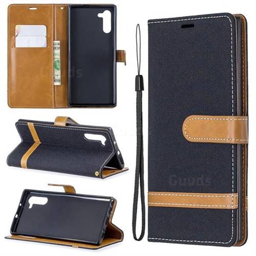 Jeans Cowboy Denim Leather Wallet Case for Samsung Galaxy Note 10 (6.28 inch) - Black