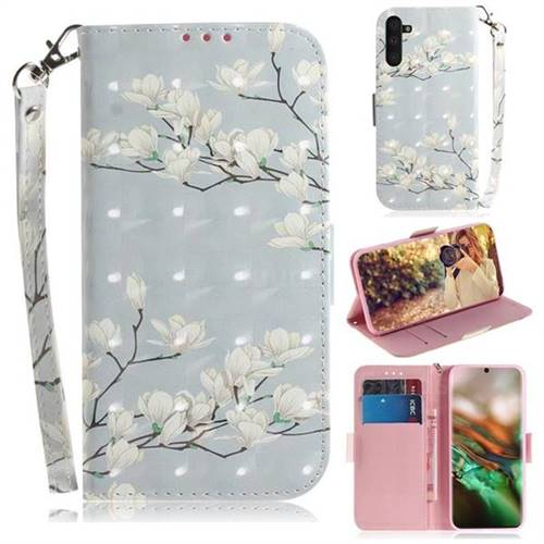 Magnolia Flower 3D Painted Leather Wallet Phone Case for Samsung Galaxy Note 10 (6.28 inch) / Note10 5G