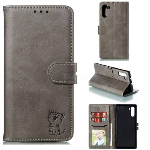 Embossing Happy Cat Leather Wallet Case for Samsung Galaxy Note 10 (6.28 inch) / Note10 5G - Gray