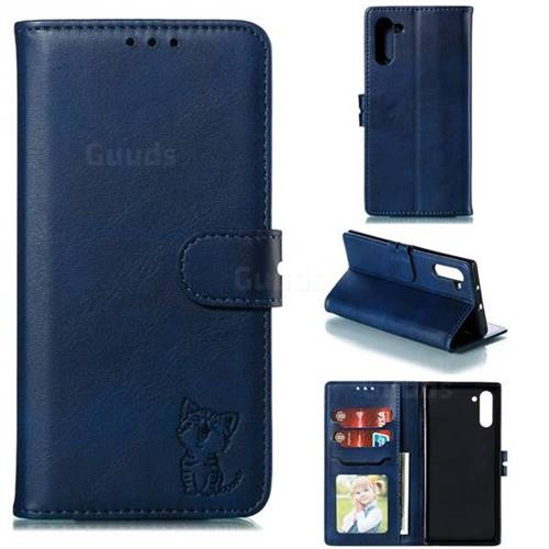 Embossing Happy Cat Leather Wallet Case for Samsung Galaxy Note 10 (6.28 inch) / Note10 5G - Blue