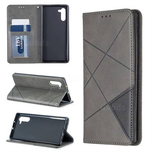 Prismatic Slim Magnetic Sucking Stitching Wallet Flip Cover for Samsung Galaxy Note 10 (6.28 inch) / Note10 5G - Gray