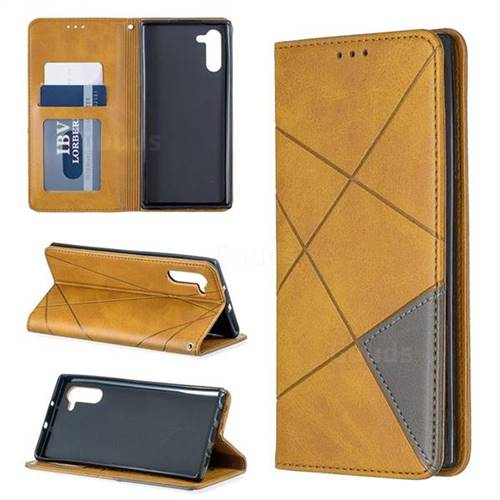 Prismatic Slim Magnetic Sucking Stitching Wallet Flip Cover for Samsung Galaxy Note 10 (6.28 inch) / Note10 5G - Yellow