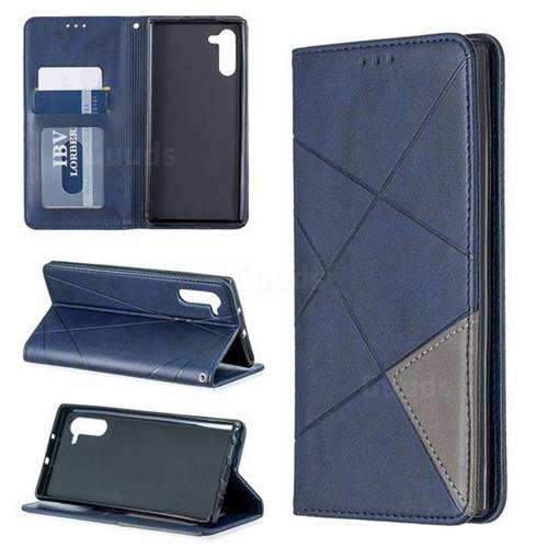 Prismatic Slim Magnetic Sucking Stitching Wallet Flip Cover for Samsung Galaxy Note 10 (6.28 inch) / Note10 5G - Blue