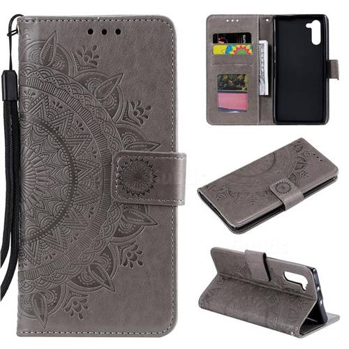 Intricate Embossing Datura Leather Wallet Case for Samsung Galaxy Note 10 (6.28 inch) / Note10 5G - Gray