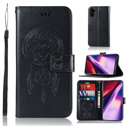 Intricate Embossing Owl Campanula Leather Wallet Case for Samsung Galaxy Note 10 (6.28 inch) / Note10 5G - Black