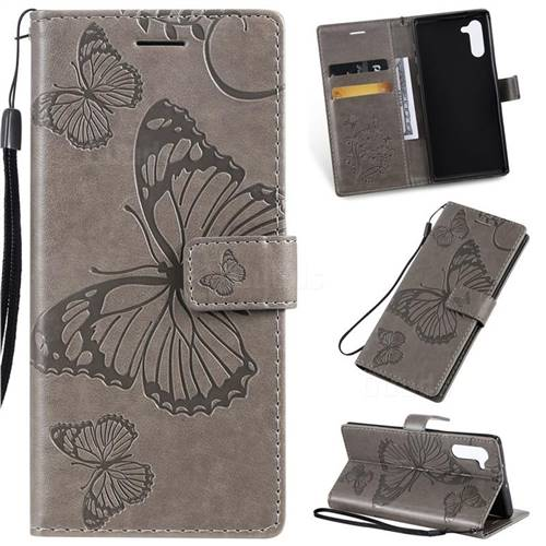 Embossing 3D Butterfly Leather Wallet Case for Samsung Galaxy Note 10 (6.28 inch) / Note10 5G - Gray