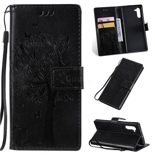 Embossing Butterfly Tree Leather Wallet Case for Samsung Galaxy Note 10 (6.28 inch) / Note10 5G - Black