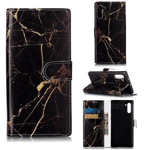 Black Gold Marble PU Leather Wallet Case for Samsung Galaxy Note 10 (6.28 inch) / Note10 5G