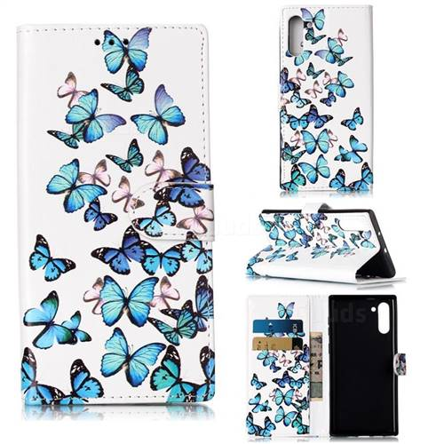 Blue Vivid Butterflies PU Leather Wallet Case for Samsung Galaxy Note 10 (6.28 inch) / Note10 5G