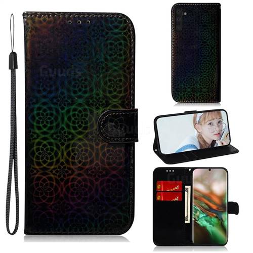 Laser Circle Shining Leather Wallet Phone Case for Samsung Galaxy Note 10 (6.28 inch) / Note10 5G - Black