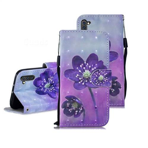 Purple Flower 3D Painted Leather Wallet Phone Case for Samsung Galaxy Note 10 (6.28 inch) / Note10 5G