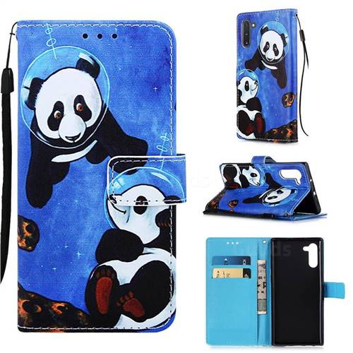 Undersea Panda Matte Leather Wallet Phone Case for Samsung Galaxy Note 10 (6.28 inch) / Note10 5G