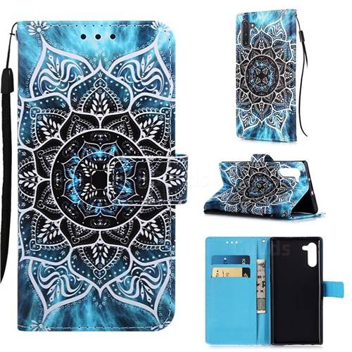 Underwater Mandala Matte Leather Wallet Phone Case for Samsung Galaxy Note 10 (6.28 inch) / Note10 5G