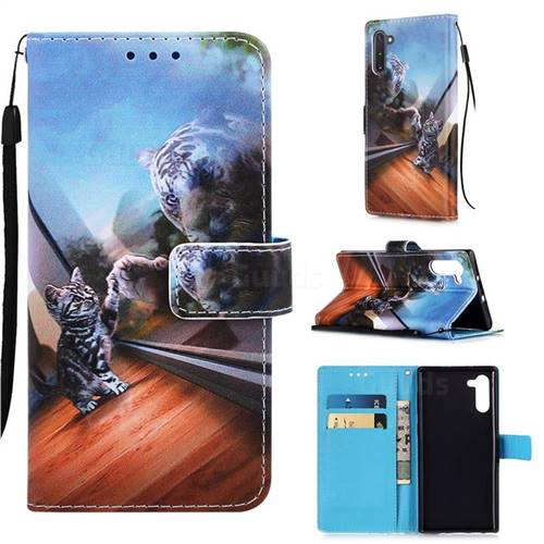 Mirror Cat Matte Leather Wallet Phone Case for Samsung Galaxy Note 10 (6.28 inch) / Note10 5G
